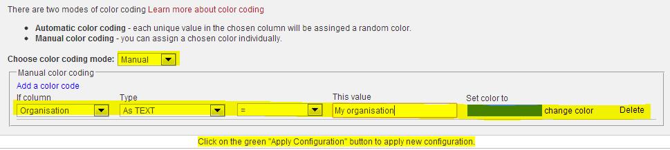 manual color coding